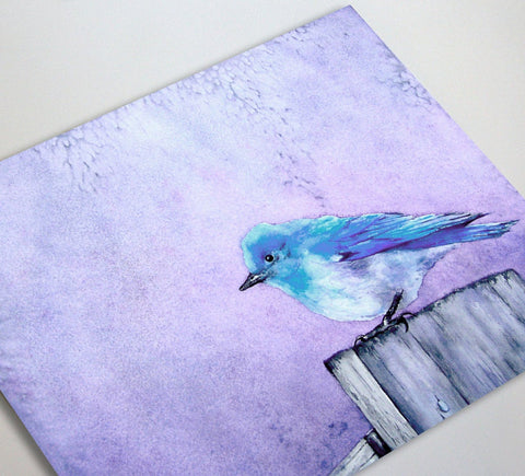 Greeting Card Bluebird Bliss Bird Fine Art Painting - Brazen Design Studio