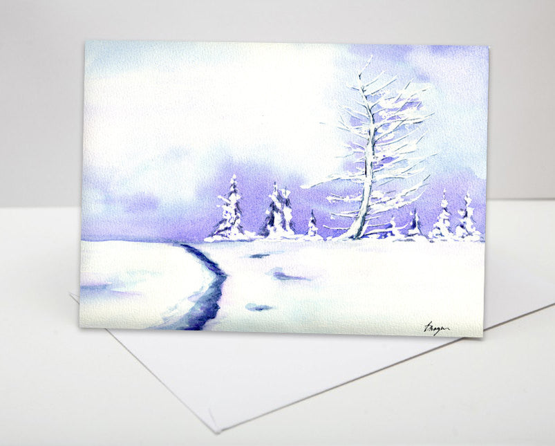 Lavender Trees Winter Landscape Painting Art Card - Brazen Design Studio