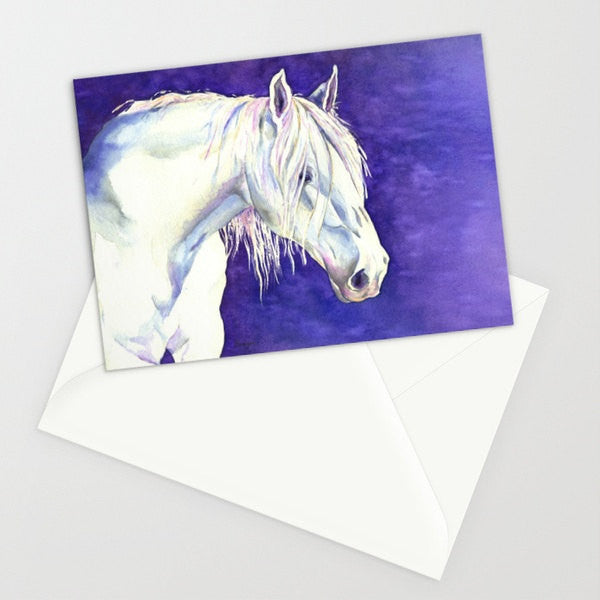 White Horse Fantasy Painting - Blank Art Card - Brazen Design Studio