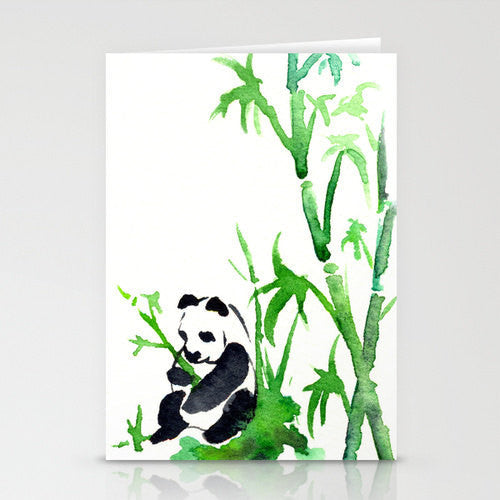 Panda Bamboo Card - Asian Art Sumi-e Art Card - Brazen Design Studio