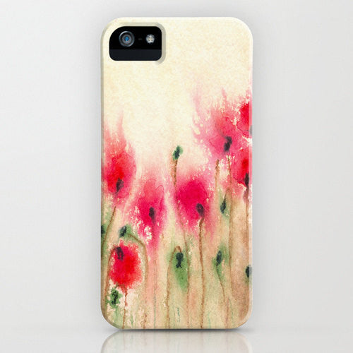 Floral iPhone 7 Case Red Poppies - Wildflower Painting - Designer iPhone Samsung Case - Brazen Design Studio