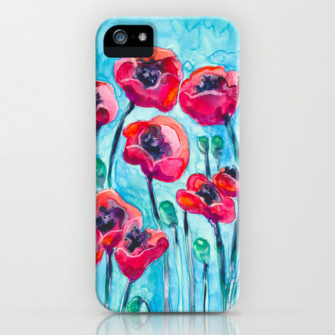 Floral Phone Case Red Poppies - Wildflower Painting - Designer iPhone Samsung Case