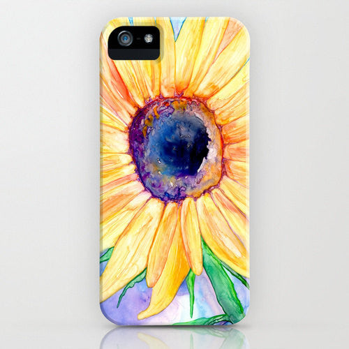 Floral iPhone 7 Case - Sunflower Watercolor Painting - Designer iPhone or Samsung Case - Brazen Design Studio