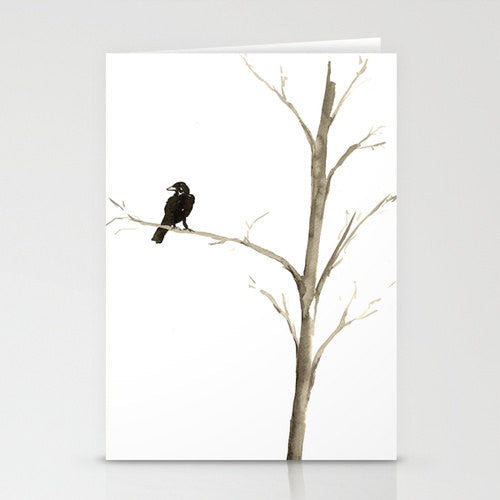 Raven Ink Painting - Minimalist Crow Art - Fine Art Card - Brazen Design Studio