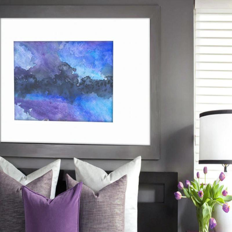 Watercolor Painting - Abstract Art - Enrapture Blue Atmospheric Sky Painting - Brazen Design Studio