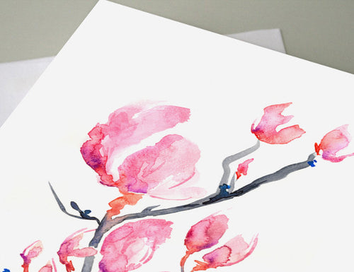 Greeting Card - Japanese Magnolia Floral Sumi-e - Brazen Design Studio
