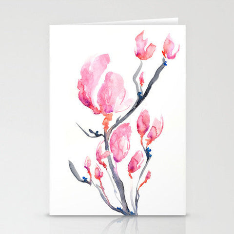 Japanese Temple Cherry Blossom Landscape Painting Art Card