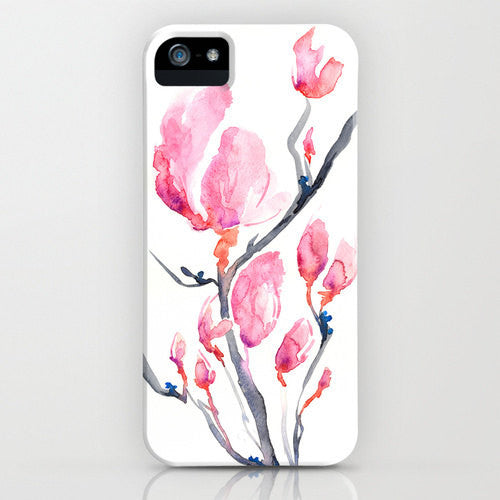 Floral Phone Case Japanese Magnolia - Zen Art - Designer - Designer iPhone 6S Plus or Samsung Case - Brazen Design Studio