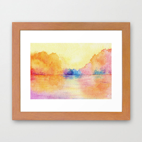 Watercolor Painting - Autumn Reflections - Impressionist Seascape Art Print - Brazen Design Studio