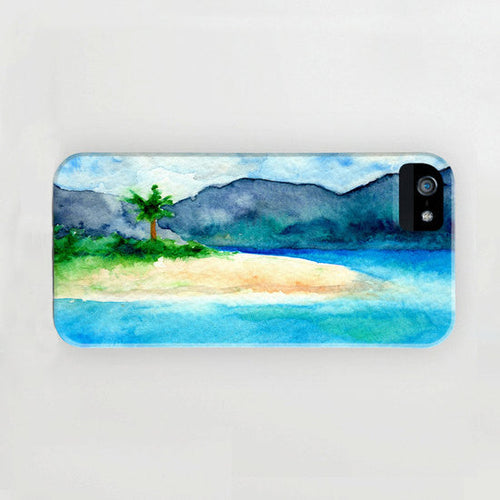 iPhone Case Caribbean Sea - Sandy Cove Seascape Painting - Designer iPhone Samsung Case - Brazen Design Studio