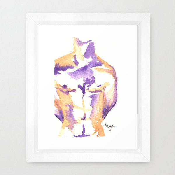 Watercolor Painting - Figurative Nude Male Watercolour Painting - Art Print - Brazen Design Studio