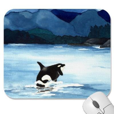 Mousepad - Orca Watercolor Painting Killer Whale - Reproduction Art for Home or Office - Brazen Design Studio