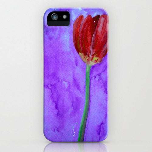 Floral Phone Case   Red Tulip Painting Brazen...