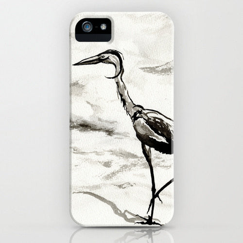 Crane Phone Case - Graceful Bird Art - Designer iPhone Samsung Case - Brazen Design Studio