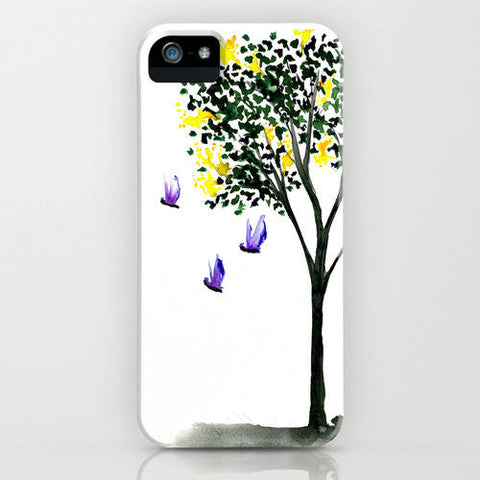 Butterflies Phone Case - Yellow Lilac Painting - Designer iPhone Samsung Case - Brazen Design Studio