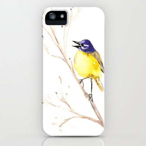 Yellow Wagtail Phone Case - Watercolor Bird Painting - Designer iPhone Samsung Case - Brazen Design Studio