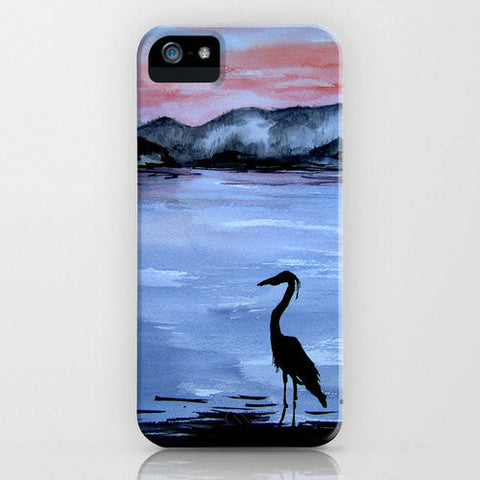 Phone Case - Blue Heron Wildlife Painting - Designer iPhone Samsung Case - Brazen Design Studio