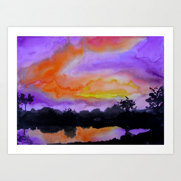 Watercolor Painting - Vibrant Sunset Dramatic Sky Sumi-e Art Print - Brazen Design Studio