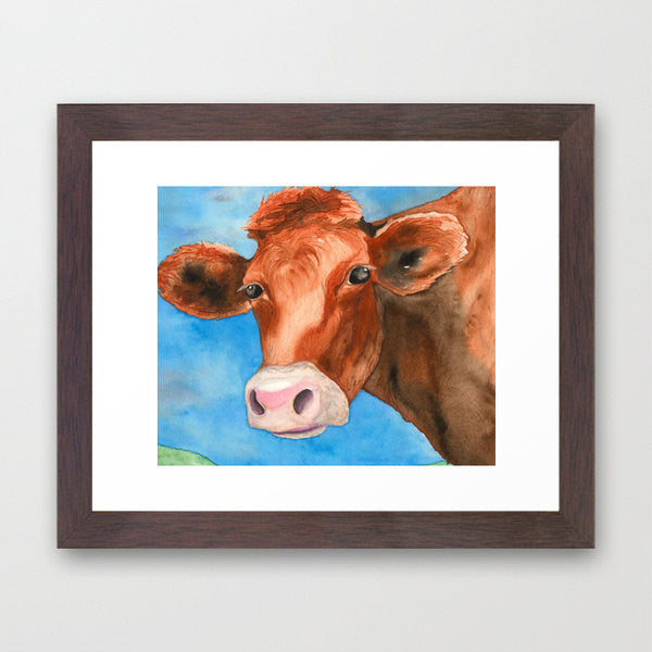 Watercolor Painting - Red Heifer Cow Bovine Country Art Print - Brazen Design Studio