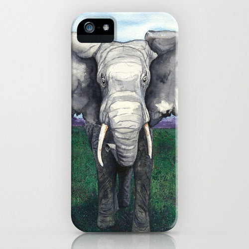 Elephant Watercolor Phone Case - Wildlife Painting - Designer iPhone Samsung Case - Brazen Design Studio