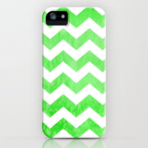 Geometric Phone Case - Lime Green Neon Chevron Watercolor - Designer iPhone Samsung Case - Brazen Design Studio