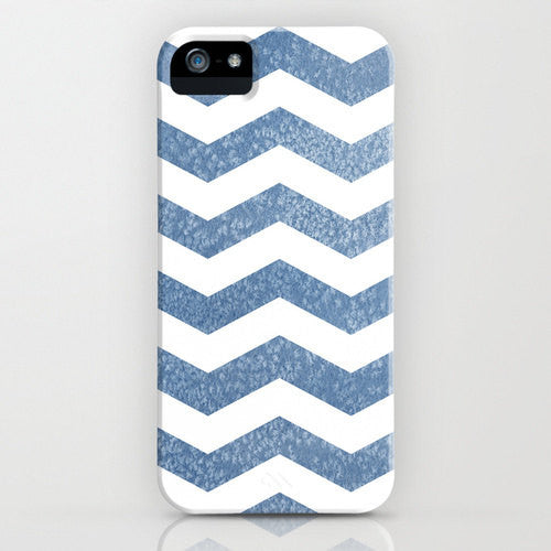 Geometric Phone Case - Chevron Blue Herringbone Watercolor Painting - Designer iPhone Samsung Case - Brazen Design Studio