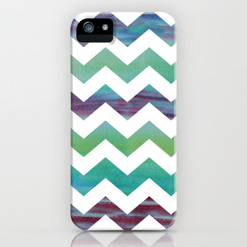 Geometric iPhone 7 Case - Rainbow Chevron Watercolor Painting - Designer iPhone Samsung Case - Brazen Design Studio