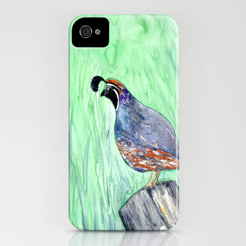 iPhone Case Valley Quail Bird Painting - California Quail - Designer iPhone Samsung Case - Brazen Design Studio