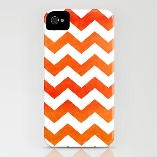 Geometric Phone Case - Orange Chevron Tribal Abstract Watercolor Art - Designer iPhone Samsung Case - Brazen Design Studio