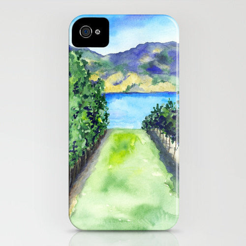 Vineyard Phone Case - Winery Landscape Painting - Cell Phone Cover - Designer iPhone Samsung Case - Brazen Design Studio