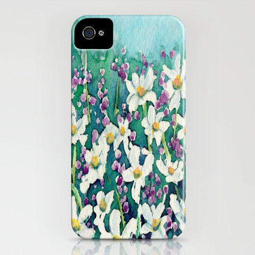 Floral iPhone 7 Case - Dancing Daisies Wildflowers - Designer iPhone Samsung Case - Brazen Design Studio