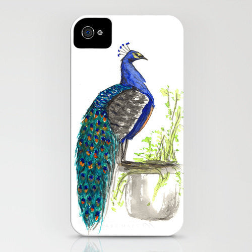 Peacock Phone Case - Minimalist Bird Painting - Designer iPhone Samsung Case - Brazen Design Studio