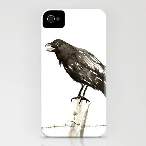 iPhone Case - Raven Call - Black Bird Art - Designer iPhone Samsung Case - Brazen Design Studio