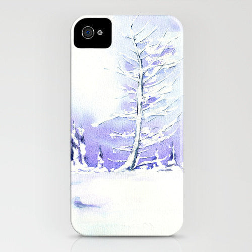 iPhone Case Winter Tree -  Landscape Painting - Designer iPhone Samsung Case - Brazen Design Studio