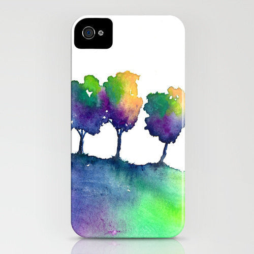 Watercolor Phone Case - Hue Painting Tree Trio Case - Designer iPhone Samsung Case - Brazen Design Studio