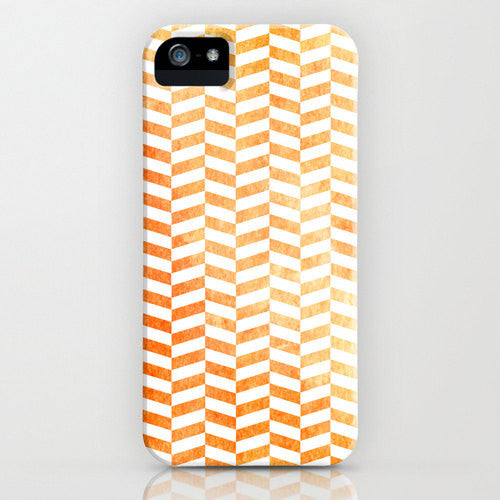 Geometric Phone Case - Orange Herringbone Abstract Art - Designer iPhone Samsung Case - Brazen Design Studio