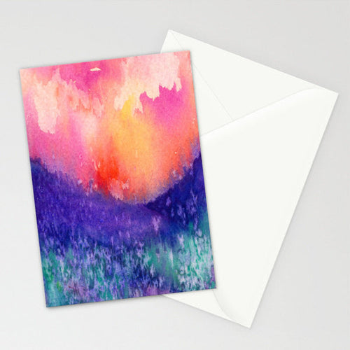 Lupin Valley Art Card - Abstract Watercolor Painting Stationery - Blank Inside - Brazen Design Studio