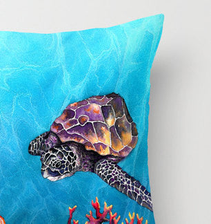 Decorative Pillow Cover - Sea Turtle - Throw Pillow Cushion - Fine Art Home Decor - Brazen Design Studio