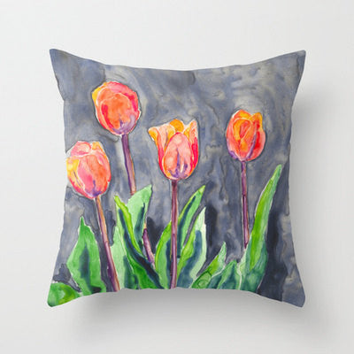 Decorative Pillow Cover - Floral Tulips - Throw Pillow Cushion - Fine Art Home Decor - Brazen Design Studio
