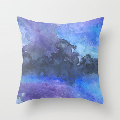 Decorative Pillow Cover - Blue Abstract Art - Throw Pillow Cushion - Fine Art Home Decor - Brazen Design Studio
