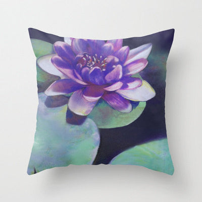 Decorative Floral Pillow Cover - Waterlily - Throw Pillow Cushion - Fine Art Home Decor - Brazen Design Studio
