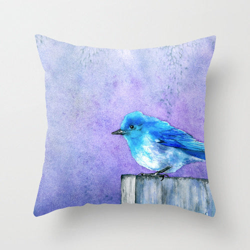 Decorative Pillow Cover - Bluebird Bliss - Bird Art - Throw Pillow Cushion - Fine Art Home Decor - Brazen Design Studio