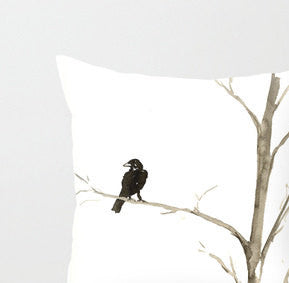 Decorative Pillow Cover - Raven Tree - Throw Pillow Cushion - Fine Art Home Decor