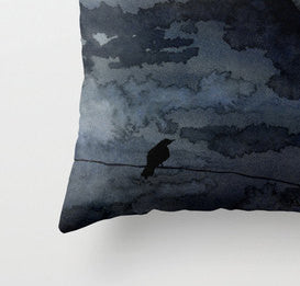 Decorative Pillow Cover - Moonlit Raven - Throw Pillow Cushion - Fine Art Home Decor - Brazen Design Studio