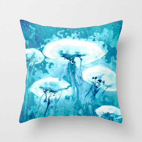 Decorative Pillow Cover - Jellyfish Painting - Throw Pillow Cushion - Fine Art Home Decor - Brazen Design Studio