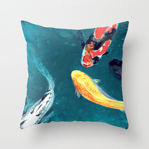 Decorative Pillow Cover - Koi Fish - Throw Pillow Cushion - Fine Art Home Decor - Brazen Design Studio