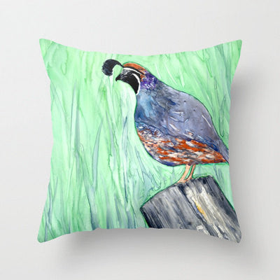 Decorative Pillow Cover - California Quail - Bird Art - Throw Pillow Cushion Home Decor - Brazen Design Studio
