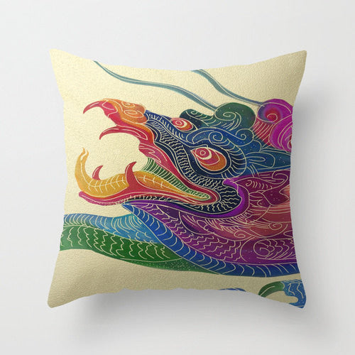 Decorative Pillow Cover - Chinese Dragon - Throw Pillow Cushion - Fine Art Home Decor - Brazen Design Studio
