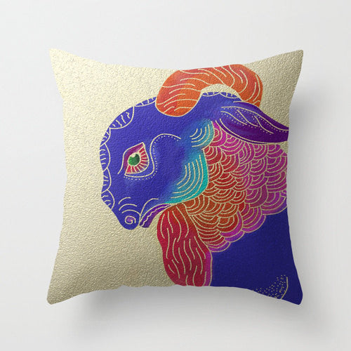 Decorative Pillow Cover - Year of the Ram Sheep - Throw Pillow Cushion - Fine Art Home Decor - Brazen Design Studio