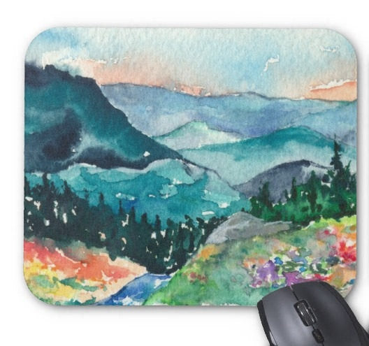 Mousepad - Valley of Dreams Landscape Watercolor Painting - Reproduction Art for Home or Office - Brazen Design Studio
